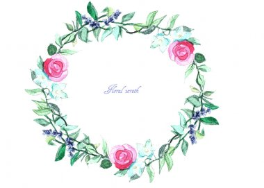Frame of watercolor roses and ribbons. Can be used as a greeting card for background of  wedding day ,Valentine's day, birthday, mother's day and so on.