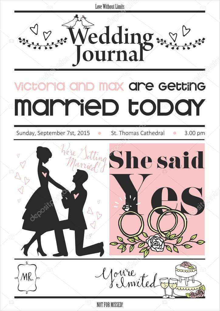 Vintage newspaper or journal wedding invitation vector design vintage newspaper or journal wedding invitation vector design template stock vector stopboris Choice Image