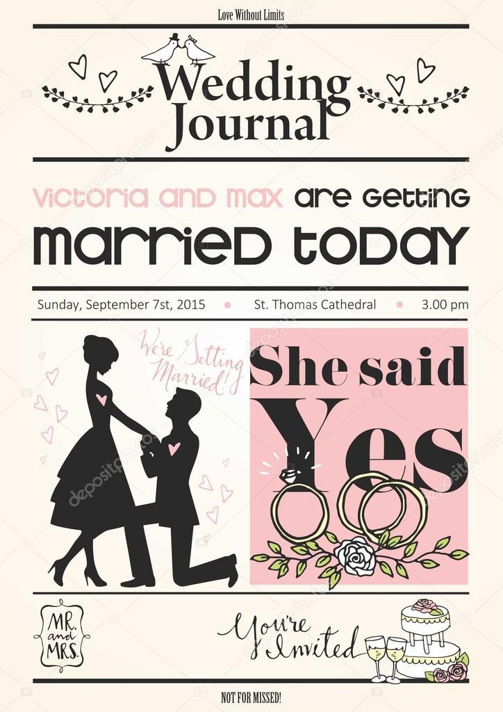 Vintage Newspaper Or Journal Wedding Invitation Vector Design