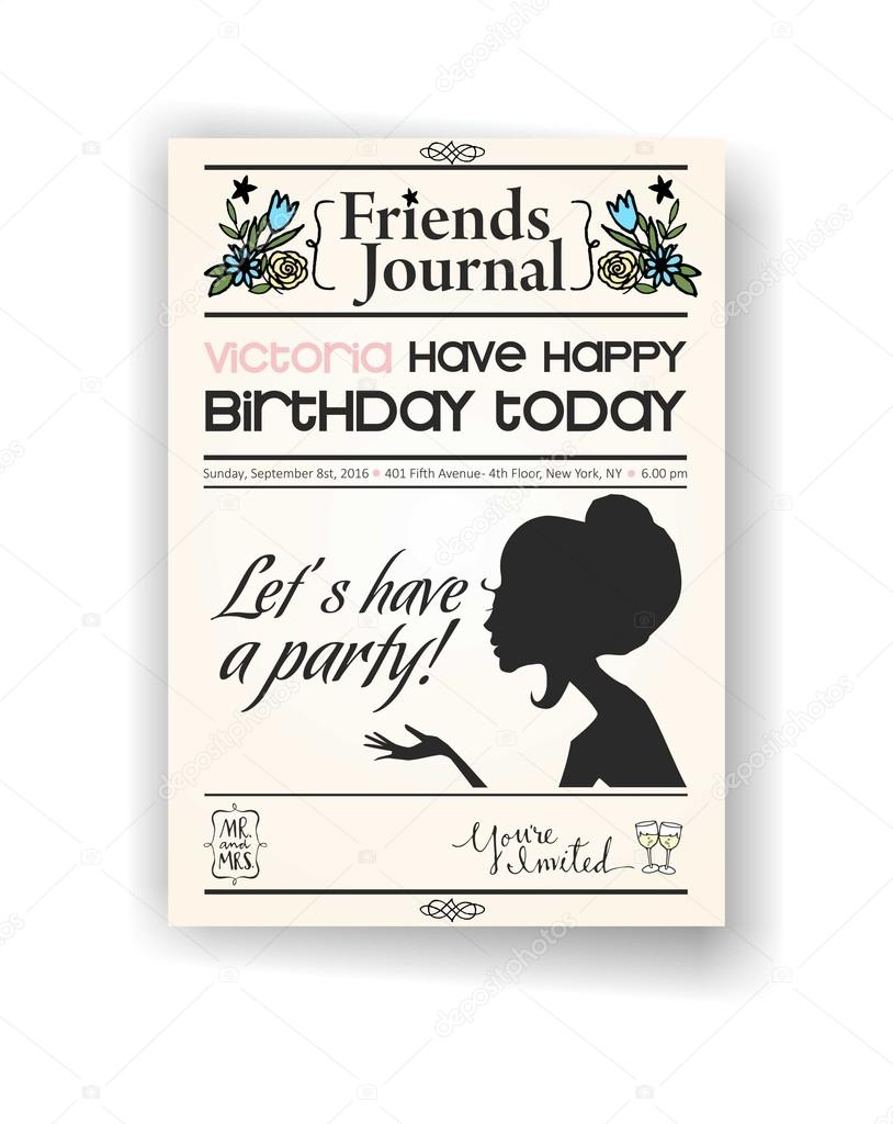 vintage newspaper or journal happy birthday invitation vector design template stock vector