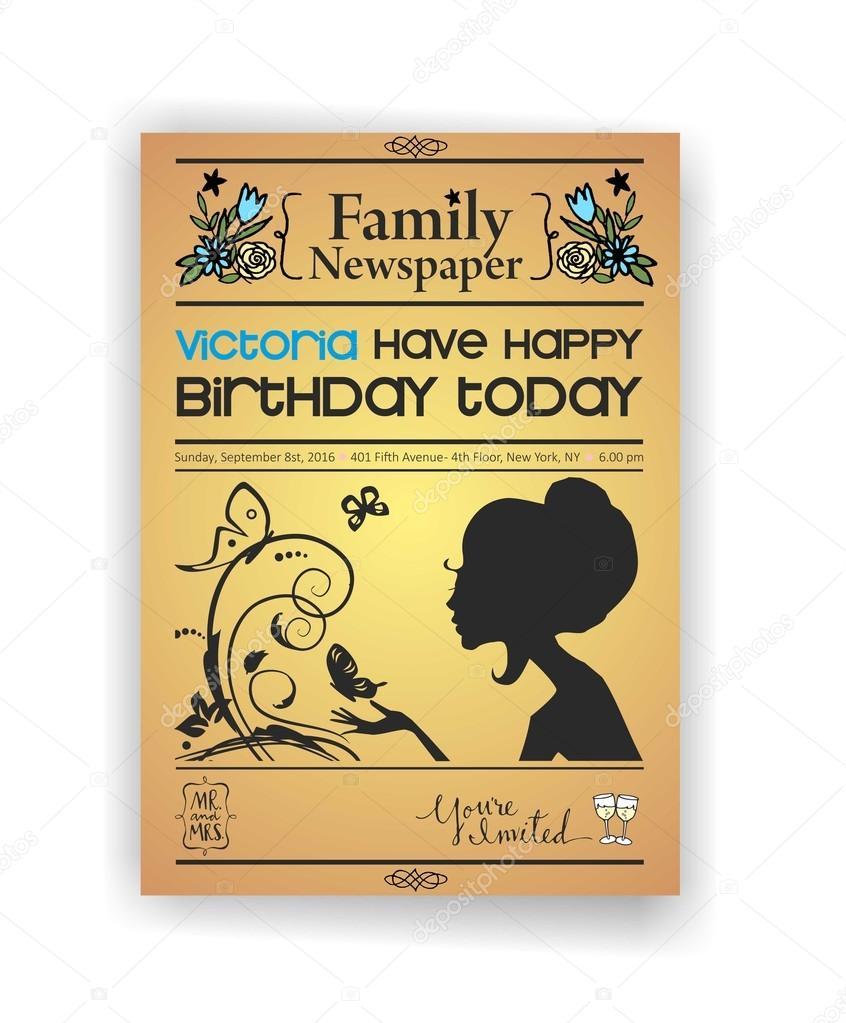 Vintage periódico o diario feliz cumpleaños invitación vector ...