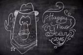 Fényképek Kréta festett illusztráció amerikai majom. Boldog új évet téma