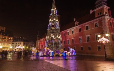 Christmas decorations in Warsaw, Poland