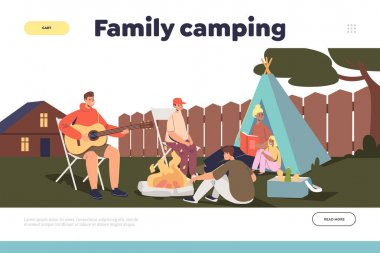 Family camping concept of landing page with parents and kids camp on backyard outside house