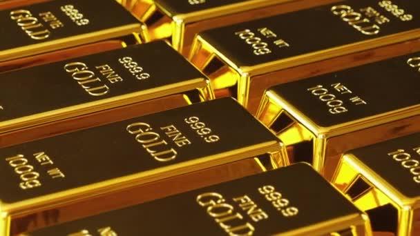Aranyrúd vagy ingot. Aranyrudak egymás után..