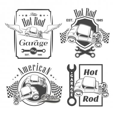 Set of hot rod labels, emblems and design elements