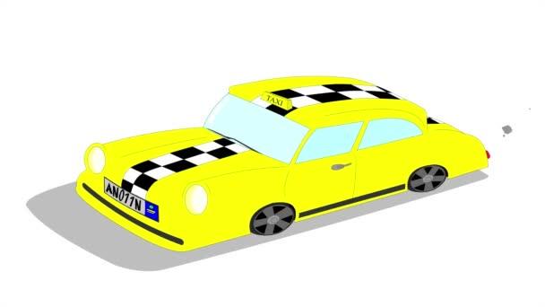 žluté taxi vyjížďky na bílém pozadí, auto běží pro turisty na ulici města, 2d video ilustrační vektorové animace