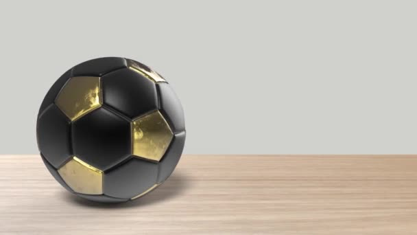 Realisztikus foci arany sárga labda forog középen a fa asztalon. Felvétel egy forgó focilabdáról, amit elszigeteltek a videószerkesztéshez. Másolja le az üzenetét. Gúnyolódj, sportcsapat gól. renderelés 3d