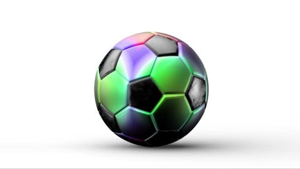 Szivárvány színű focilabda forgó közepén elszigetelt fehér fény háttér. Labda, amely megváltoztatja a színt, Labdarúgás elhalványul között átmenet színek 3d render. csoport, sport, mérkőzés, játék