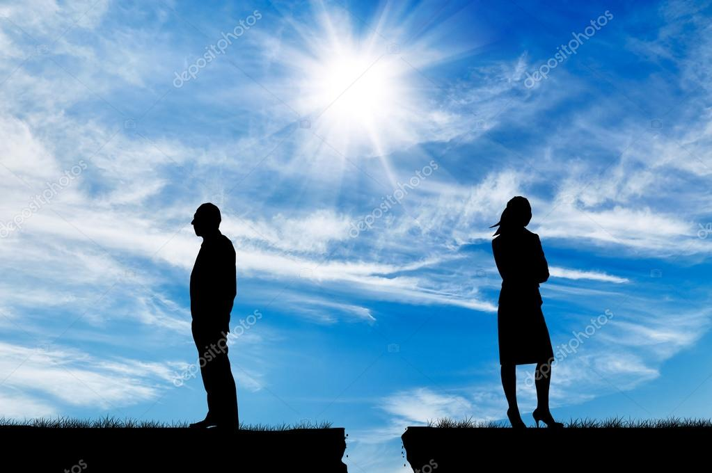 Silhouette of man and woman in a quarrel