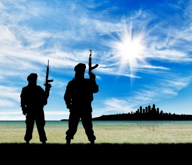 Silhouette of terrorists