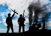 Silueta teroristů a vyhodit vrtulník