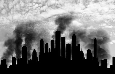 Silhouette of the city in smoke