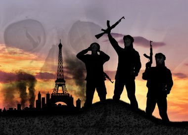 Silhouette of the terrorists in city