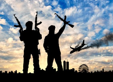 Silhouette of the terrorists and the plane crash