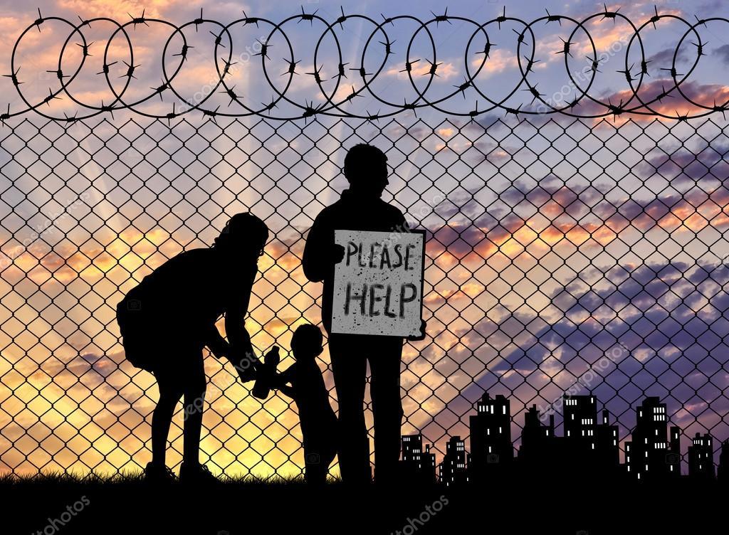 Silueta De Una Familia De Refugiados Con Un Niño