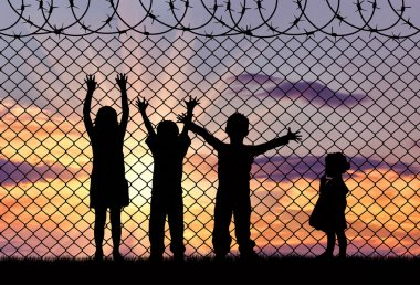 Silhouette of the hungry children of refugees