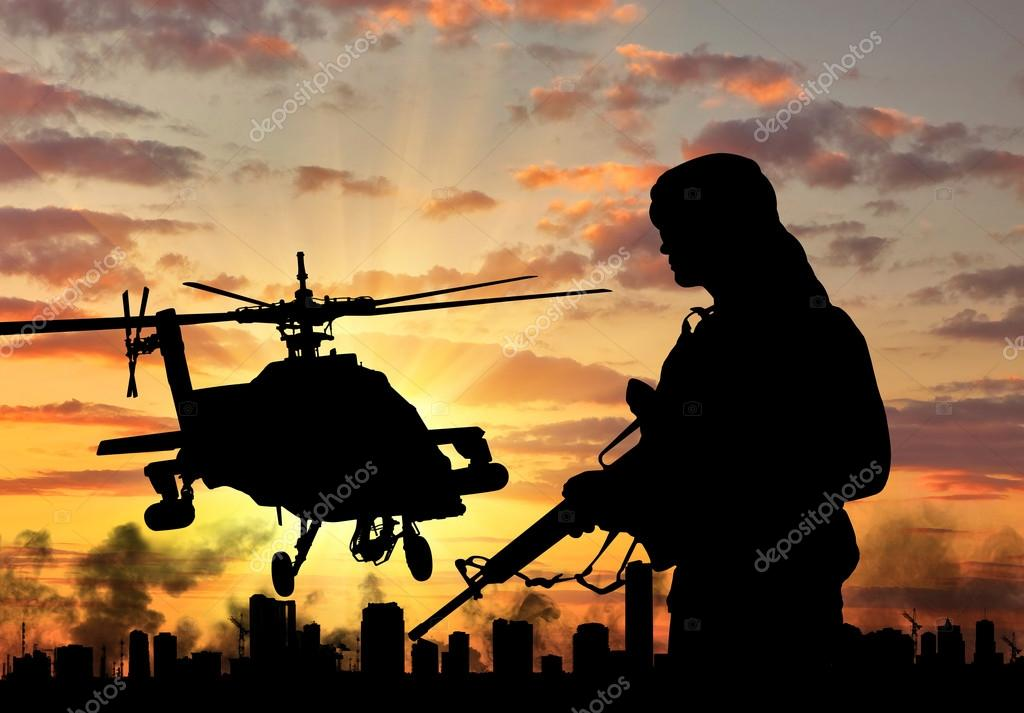 Silhouette of a terrorist and a helicopter — Stock Photo, Image