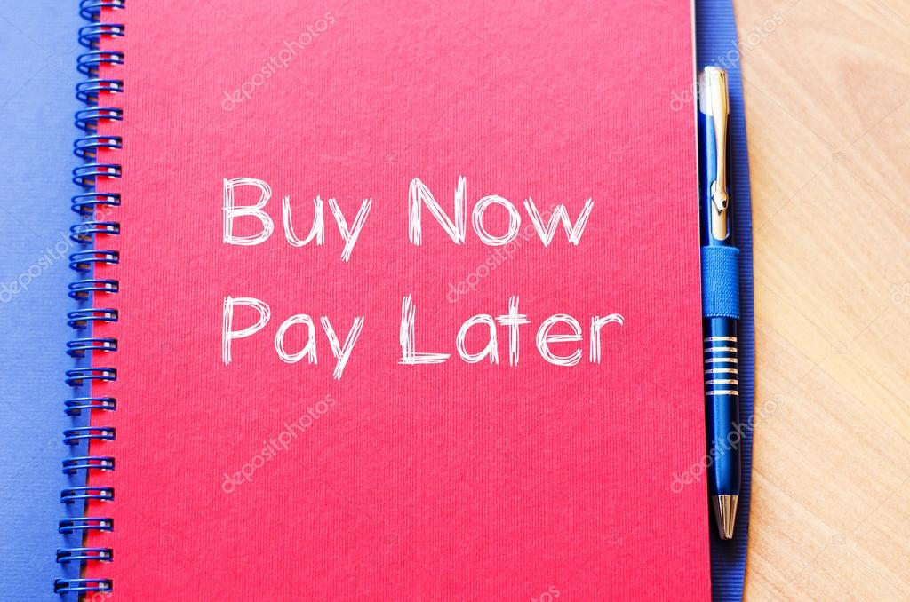 Buy now pay later text concept on notebook — Stock Photo