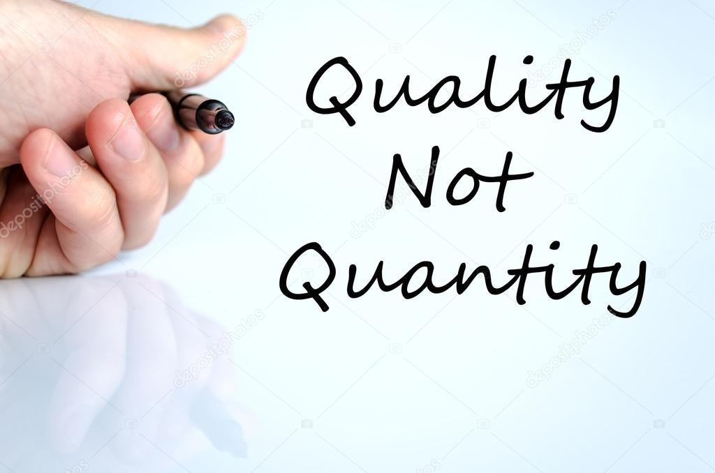 quality not quantity text concept stock photo