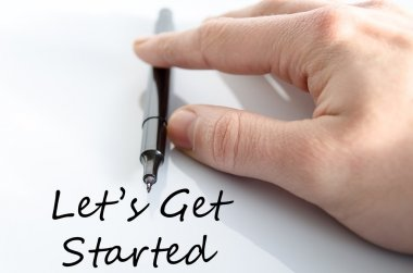 Let's get started text concept