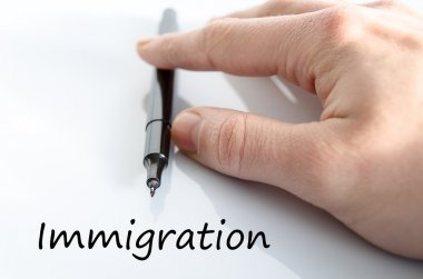 Immigration text concept