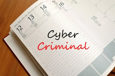 Cyber criminal write on notebook
