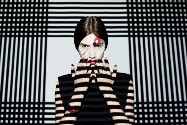 Fashion girl on geometric background