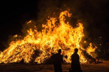 Bonfire on a beach at night, Costa Brava, Spain