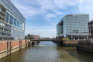 Hamburg, Germany - August 23, 2019: Facade of the Der Spiegel headquarters in Ericusspitze, Hamburg, Germany
