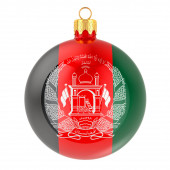 Christmas ball with Afghan flag, 3D rendering isolated on white background