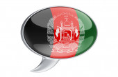 Speech balloon with Afghan flag, 3D rendering isolated on white background