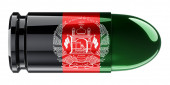 Bullet with Afghan flag, 3D rendering isolated on white background
