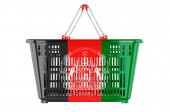 Shopping basket with Afghan flag, market basket or purchasing power concept. 3D rendering isolated on white background
