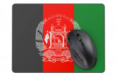 Computer mouse and mouse pad with Afghan flag, 3D rendering isolated on white background