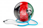 Afghan flag with stethoscope. Health care in Afghanistan concept, 3D rendering isolated on white background