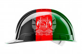 Hard hat with Afghan flag, 3D rendering isolated on white background
