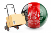 Parcel on the hand truck with Afghan flag. Shipping in Afghanistan, concept. 3D rendering isolated on white background