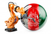 Robotic arm with Afghan flag. Modern technology, industry and production in Afghanistan concept, 3D rendering isolated on white background