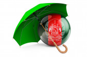 Afghan flag under umbrella. Protection and security of Afghanistan concept, 3D rendering isolated on white background