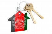 Real estate in Afghanistan. Home keychain with Afghan flag. Property, rent or mortgage concept. 3D rendering isolated on white background