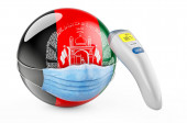 Afghan flag with medical mask and infrared electronic thermometer. Pandemic in Afghanistan concept, 3D rendering isolated on white background