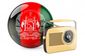 Radio broadcasting in Afghanistan concept. Radio receiver with Afghan flag. 3D rendering isolated on white background