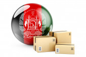 Parcels with Afghan flag. Shipping and delivery in Afghanistan, concept. 3D rendering isolated on white background