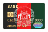 Bank credit card featuring Afghan flag. National banking system in Afghanistan concept. 3D rendering isolated on white background