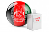 Ballot box with Afghan flag. Election in Afghanistan. 3D rendering isolated on white background