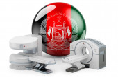 MRI and CT Diagnostic, Research Centres in Afghanistan. MRI machine and CT scanner with Afghan flag, 3D rendering isolated on white background