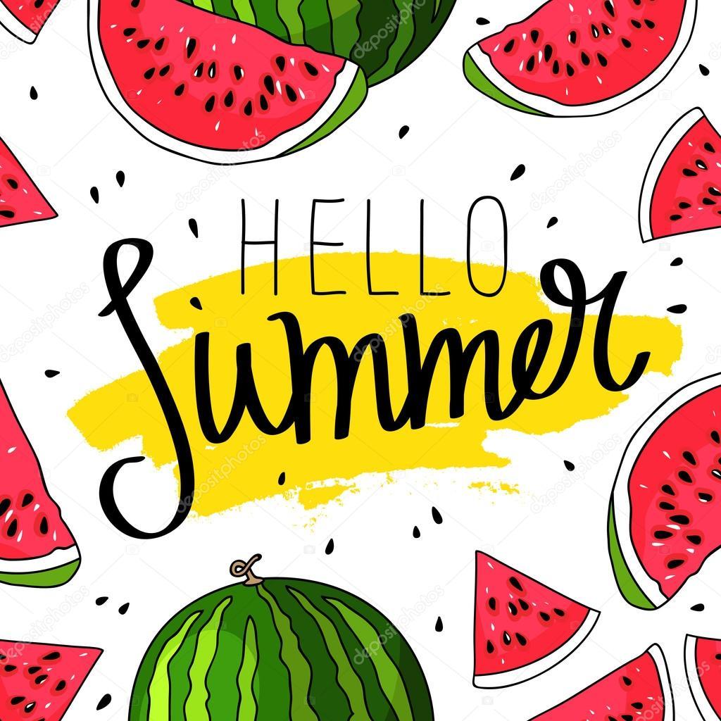 こんにちは、スイカの背景に夏の碑文 — ストックベクター © chekat