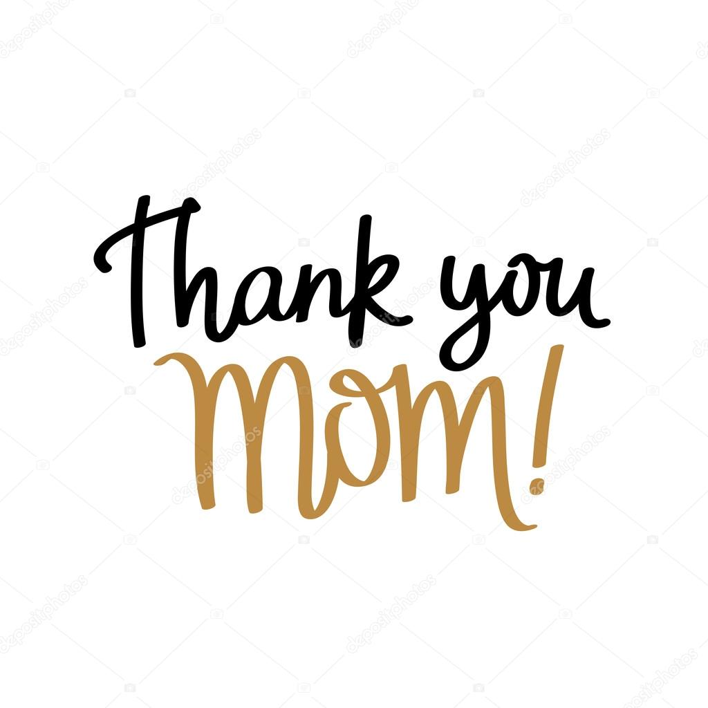 Quote thank you mom calligraphy stock vector � chekat