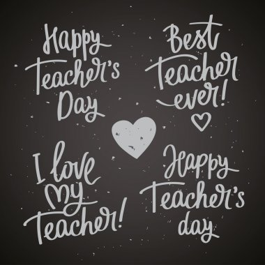 Set of labels to the Teacher's Day. Fashionable calligraphy